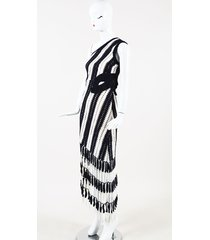 striped crochet asymmetric maxi dress