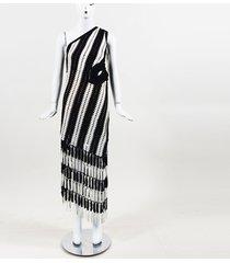 self portrait striped crochet asymmetric maxi dress blue sz: s