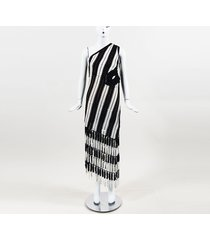 self portrait striped crochet asymmetric maxi dress