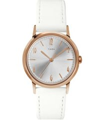 timex marlin leather strap watch, 34mm