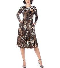 women's animal print long sleeve pleated midi dress