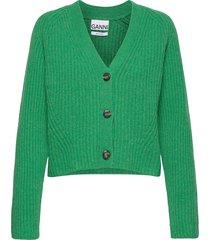 rib knit stickad tröja cardigan grön ganni