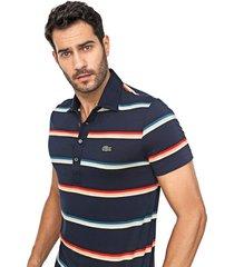 camisa polo lacoste regular listrada azul-marinho/amarela