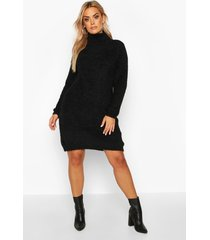 plus super soft knitted mini sweater dress, black