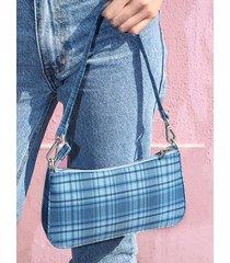 bolso de hombro con diseño de cremallera a cuadros bolsa