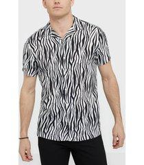 premium by jack & jones jprblaanimal viscose shirt s/s skjortor vit