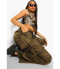 wide leg cargo broek met bandjes, khaki