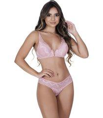 conjunto lingerie estilo sedutor em renda decote v rose - vf49