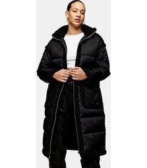 black longline hooded padded puffer jacket - black