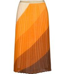 u8056, woven skrit under knee knälång kjol orange saint tropez