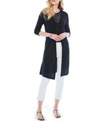 women's nic+zoe drifting linen blend cardigan, size x-large - black