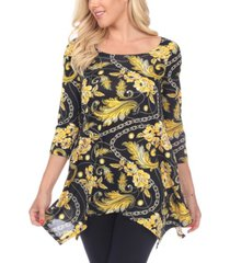 white mark women's floral chain printed tunic top