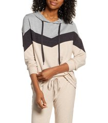 women's pj salvage lounge essentials colorblock hoodie, size x-large - beige