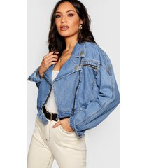 crop biker zip jean jacket, mid blue