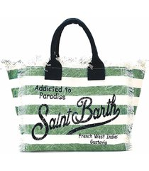 military green striped canvas beach bag