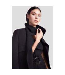 vestido curto de crepe salopete argolas preto - 44