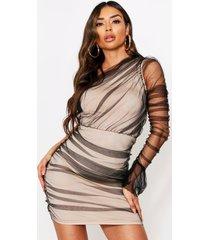 one shoulder mesh dress, black