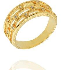 anel dona diva semi joias faixas dourado