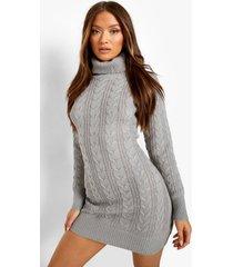 grof gebreide sweatshirt jurk met col, grey