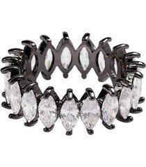 anel aliança navetes the ring boutique pedras de zircônias em ródio negro