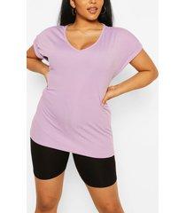 plus basic rib oversized t-shirt, lilac