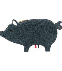 thom browne fluffy-pig clutch - blue