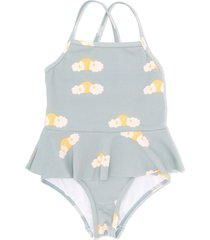 tiny cottons cloudy sun print swimsuit - blue