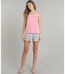 pijama feminino café com bolso regata rosa