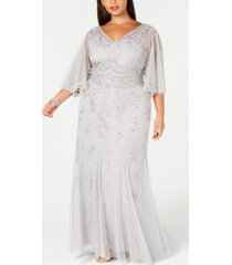 adrianna papell plus size beaded wide-sleeve gown