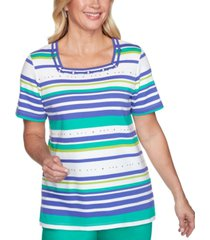 alfred dunner costa rica striped studded t-shirt