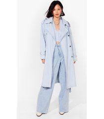 womens long time comin' denim belted trench coat - light blue
