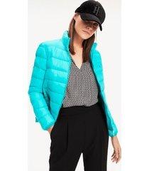 tommy hilfiger women's puffer bomber jacket aqua teal - 6