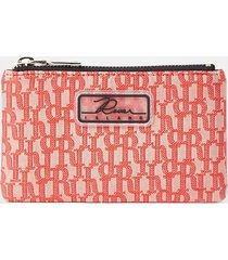 river island womens coral jacquard mini zip pouch purse