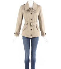 burberry brit beige cotton belted trench jacket beige sz: m