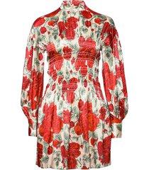 silk stretch satin kort klänning röd ganni