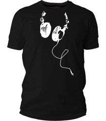 camiseta criativa urbana fones divertidas preto