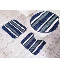 jogo de banheiro tapetes jr onix pop 3 peças azul