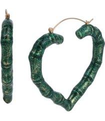 betsey johnson glitter bamboo heart hoop earrings
