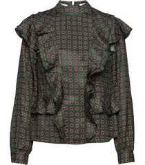 high neck printed ruffle top blouse lange mouwen groen scotch & soda