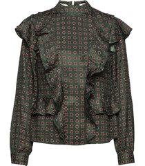 high neck printed ruffle top blouse lange mouwen groen scotch & soda