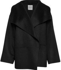 annecy jacket wollen jas lange jas zwart totême