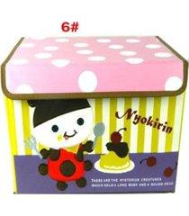 cartoon oxford caja de almacenamiento de disco de tela lindo bordados multicolor organizador caja de almacenamiento