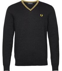 classic v/n jumper stickad tröja v-krage svart fred perry
