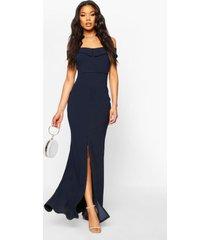 bardot split front maxi dress, navy