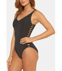 bleu rod beattie v-neck strappy one-piece swimsuit women's swimsuit