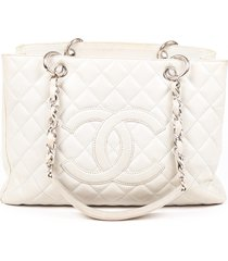 chanel grand shopping tote gray quilted caviar cc bag gray/logo sz: m
