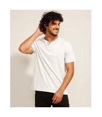 camiseta masculina básica manga curta gola portuguesa cinza mescla claro