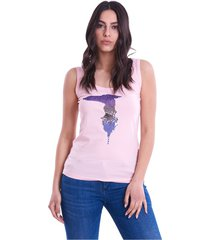 pink trussardi jeans t-shirt with sequin logo