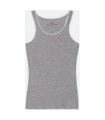 blusa de pijama em ribana sem mangas e com renda no decote | lov | cinza médio | p