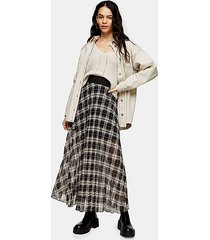 black and white check pleated maxi skirt - monochrome